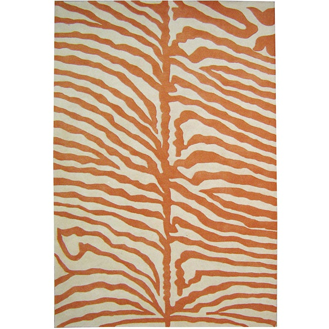 Alliyah Handmade Tufted Off-white, Orange Animal Print New Zealand Blend Wool Rug (4' x 6')
