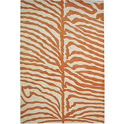 Alliyah Handmade New Zeeland Blend Orange Safari Wool Area Rug (4' x 6')