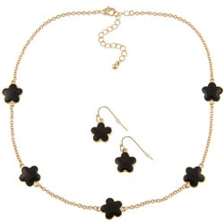 Goldtone Black Enamel 16-inch Daisy Necklace and Earring Set