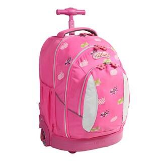 J World Pink Rabbit 17-inch Kids Ergonomic Rolling Backpack