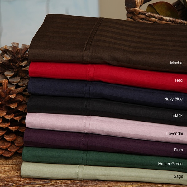 Luxor Treasures Egyptian Cotton 300 Thread Count Stripe Split King Sheet Set