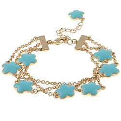 Goldtone Turquoise Enamel 3-strand Bracelet