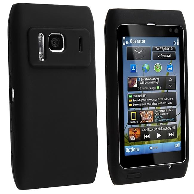 INSTEN Black Soft Silicone Phone Case Cover for Nokia N8