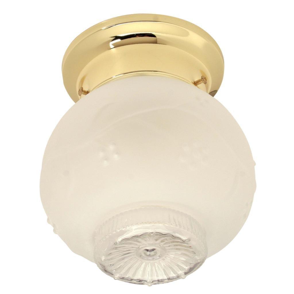 Transitional Polished Brass 1-light Flush Sconce