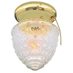 Transitional Polished Brass One-Light Flush Sconce with Pull-Chain Switch