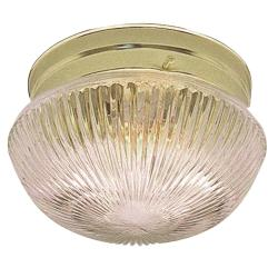 Transitional Indoor One-Light Polished-Brass Flush Fixture