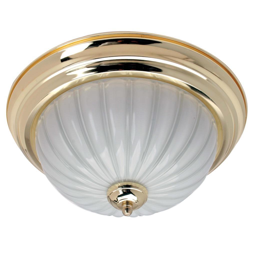Transitional 2-light Polished Brass Flush-mount Fixture