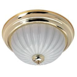 Transitional 2-light Polished Brass Flush-mount Fixture