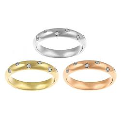Tri-color Stainless Steel Stackable Cubic Zirconia Rings (Set of 3)