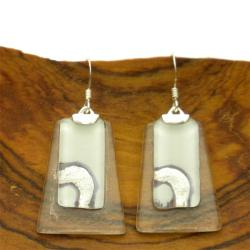 Sterling Silver Ethereal Glass Silver/ White Trapezoid Earrings (Chile)