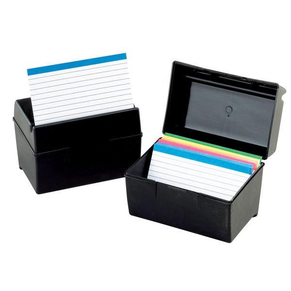 Oxford Plastic Index Card Flip Top File Box