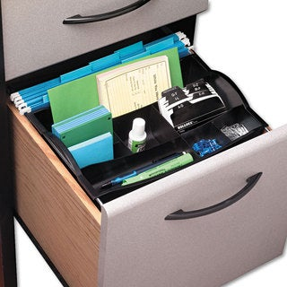 Rubbermaid Black Plastic Hanging Desk Drawer Organizer - 12.5 x 7.75 x 3.25