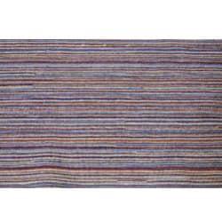 Hand-knotted Mediterranean Blue Stripe Wool Rug (8' x 10')