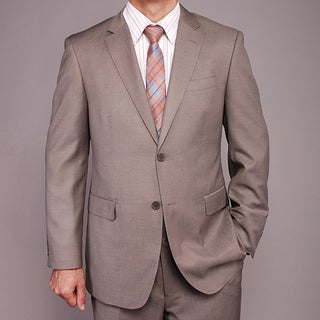 Men's Taupe Sharkskin Pattern Wool/Silk Blend 2-button Suit