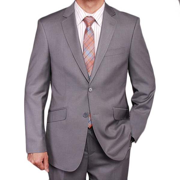 Men's Gray Textured 2-button Slim-fit Suit