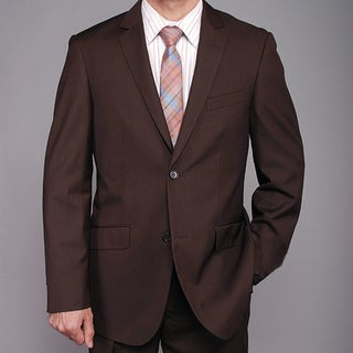 Men's Brown 2-button Slim-fit Suit