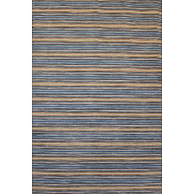 Hand-Knotted Mediterranean Blue Stripe Wool Area Rug (8' x 10')