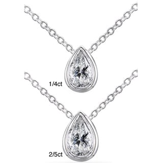 Annello 14k White Gold Pear Shape Diamond Solitaire Necklace (H-I, I1