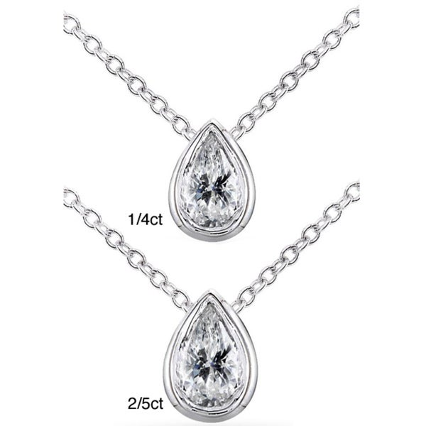 Annello 14k White Gold Pear Shape Diamond Solitaire Necklace (H-I, I1-I2)