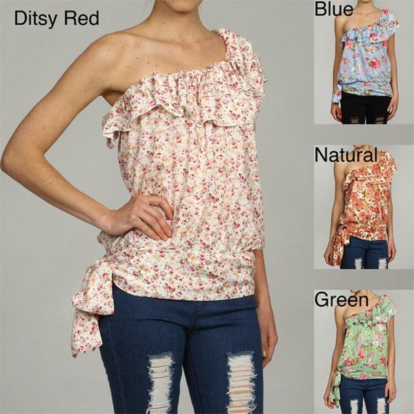 Elan Women's Floral One-shoulder Ruffle Top