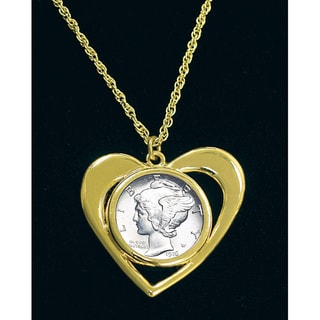 American Coin Treasures Mercury Dime Goldtone Heart Necklace