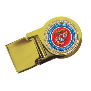 American Coin Treasures Goldtone Marines Washington Quarter Money Clip