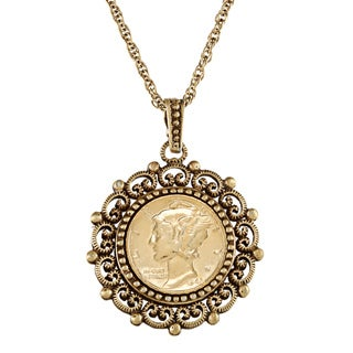 American Coin Treasures Mercury Dime Antique Goldtone Beaded Necklace