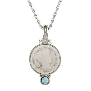 American Coin Treasures Silver Barber Dime Aqua Crystal Pendant Necklace