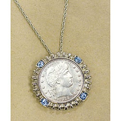American Coin Treasures Silver Barber Quarter Blue Crystal Silvertone Pendant Necklace