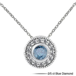10k White Gold 2/5 to 1/2ct TDW Colored Diamond Halo Necklace (I-J, I1-I2)