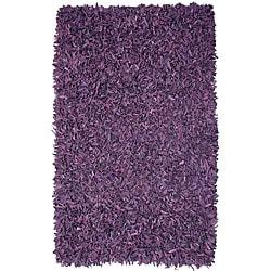 Pelle Hand-tied Purple Leather Shag Rug (4' x 6')