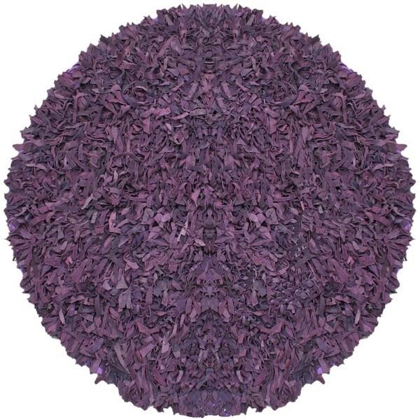 Pelle Hand-tied Purple Leather Shag Rug (4' Round)