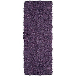 Pelle Hand-tied Purple Leather Shag Rug (2'6 x 12')