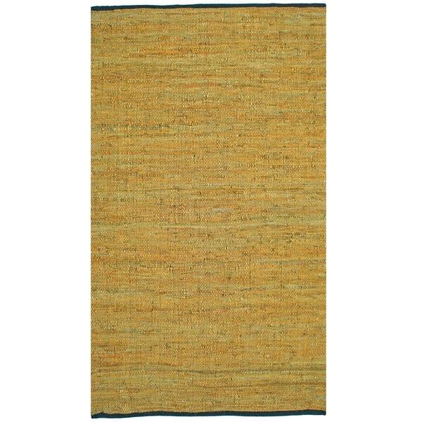 Matador Gold Hand-woven Leather Rug (8' x 10')