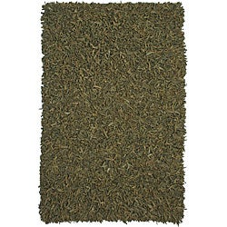 Hand-tied Pelle Green Leather Shag Rug (4' x 6')