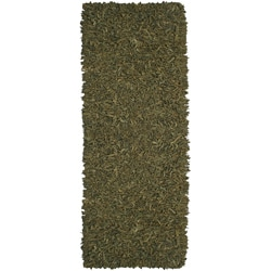 Hand-tied Pelle Green Leather Shag Rug (2'6 x 8')