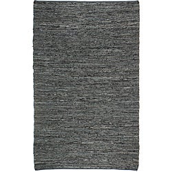 Hand-woven Matador Black Leather Rug (9' x 12')
