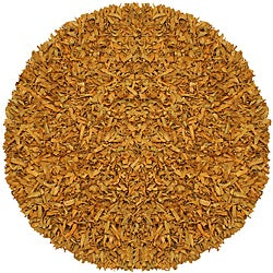 Hand-tied Pelle Gold Leather Shag Rug (4' Round)