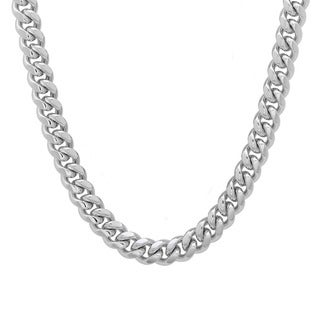 Platifina Platinum over Silver 22-inch Cuban Link Chain Necklace