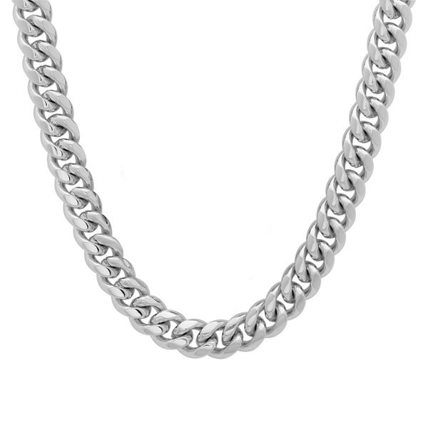 Platifina Platinum over Silver 26-inch Cuban Link Chain Necklace