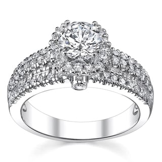 14k White Gold 1 3/4ct TDW Diamond Halo Engagement Ring (H-I, SI1-SI2)