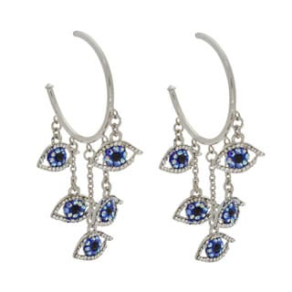 NEXTE Jewelry Dangling Evil Eyes Rhinestone High-polish Guardian Hoop Earrings