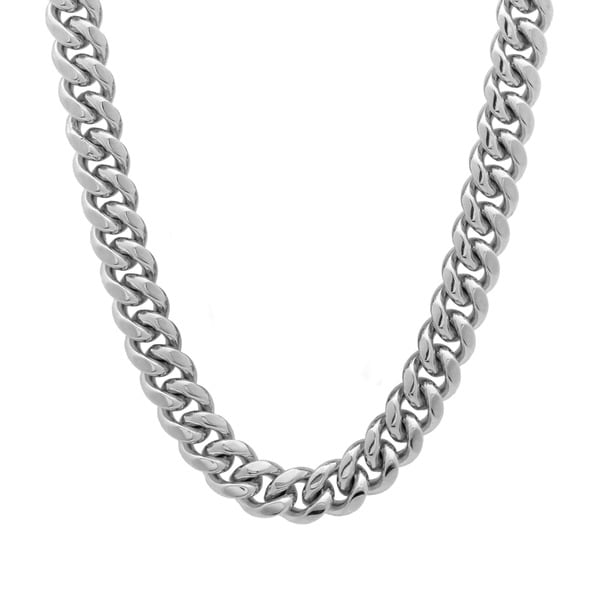 Sterling Essentials Rhodium Plated Silver 30-inch Cuban Link Chain Necklace