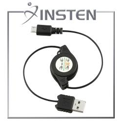 INSTEN Retractable 2-in-1 Black Micro USB Cable