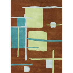 Alliyah Handmade New Zeeland Blend Brown Geometric Rug (5' x 8')