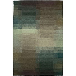 Nepalese Hand-knotted Plum Reflections Wool Rug (6' x 9')