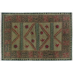 Nepalese Hand-knotted Olive Sundial Wool Rug (2'6 x 10')