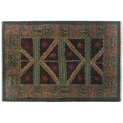 Nepalese Hand-knotted Chocolate Sundial Wool Rug (2'6 x 10')