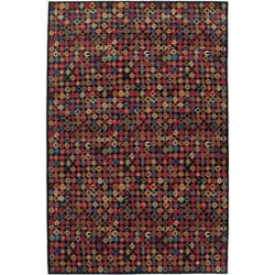 Nepalese Hand-knotted Black Bottle Cap Wool Rug (4' x 6')