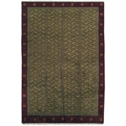 Nepalese Hand-knotted Green Kelp Wool Rug (2'6 x 10')